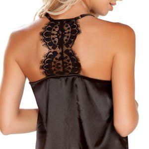 SpendWithJen Intimates & Sleepwear - Black Cami & Lace Short Pajama Set Satin